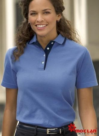 Đồng phục áo phông nữ xanh cổ phối đen 01