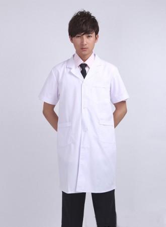 Đồng phục bác sỹ nam ngắn tay màu trắng 02