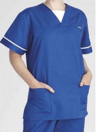 Đồng phục y tá bệnh viện cổ V ngắn tay 01