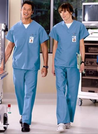 Đồng phục y tá bệnh viện cổ V nam nữ ngắn tay 06