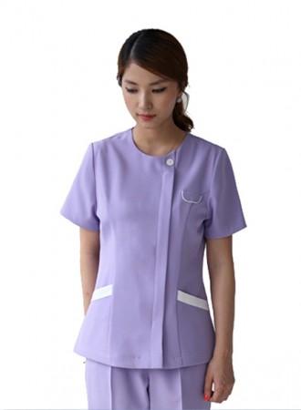 Đồng phục y tá bệnh viện nữ cổ tròn tím  10
