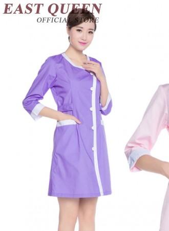 Đồng phục y tá bệnh viện váy nữ cúc chéo tím túi trước 13