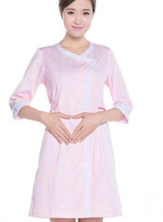 Đồng phục y tá bệnh viện váy nữ hồng túi trước 14