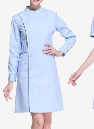Đồng phục y tá bệnh viện váy nữ xanh cao cổ 15