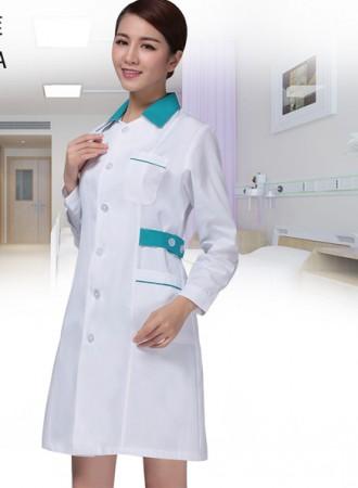 Đồng phục y tá váy dài tay cổ đức 18