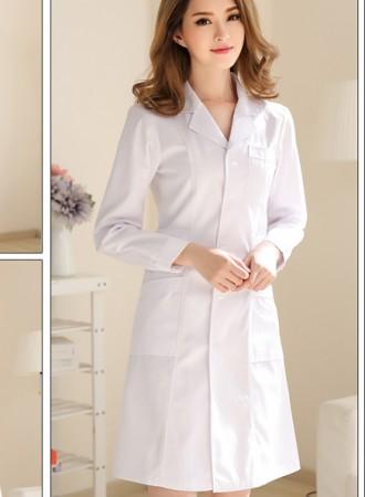 Đồng phục y tá váy dài tay cổ 2 ve 19