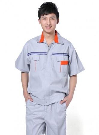 Đồng phục công nhân ghi xám phối đỏ 03