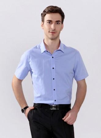 áo sơ mi nam xanh cộc tay phối cổ 002