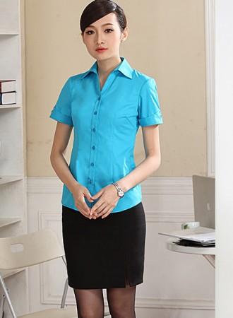 Sơ mi công sở nữ màu xanh 03