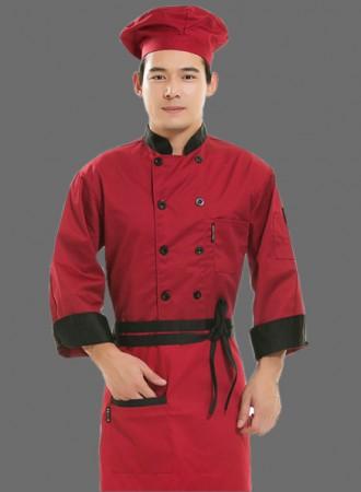 Đồng phục bếp, áo đỏ đen 01