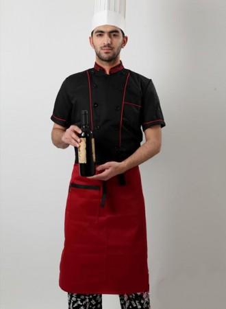 Áo bếp đen phối đỏ 06