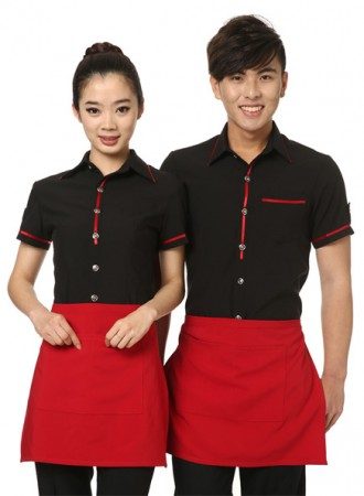 Đồng phục phục vụ đen phối đỏ 01