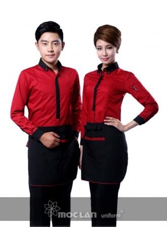 Đồng phục phục vụ đỏ đen 11