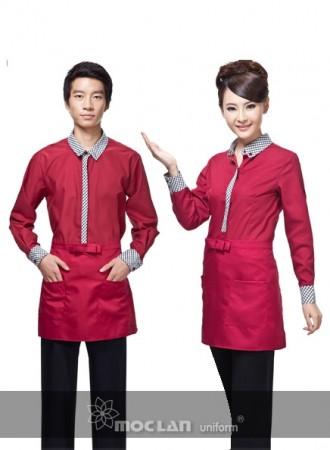 Đồng phục phục vụ đỏ đen 12