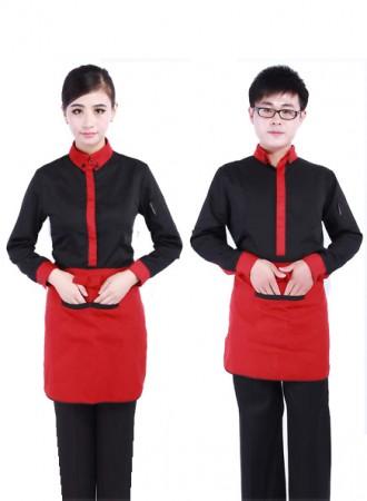 Đồng phục phục vụ đen phối đỏ 03