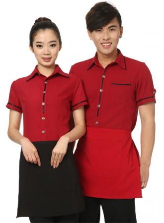 Đồng phục phục vụ đỏ đen 07